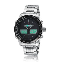 Herrklocka NaviForce. Analog / Digital Silverfärgad boett/Armband.Svart/vita detaljer.Autodate-Alarm-Chronograf-Complete calender,Day/Date