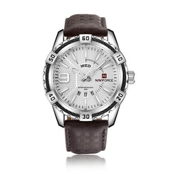Herrklocka NaviForce Smart Business. Steel / Silver/ Leather Brown. Quartz Japan