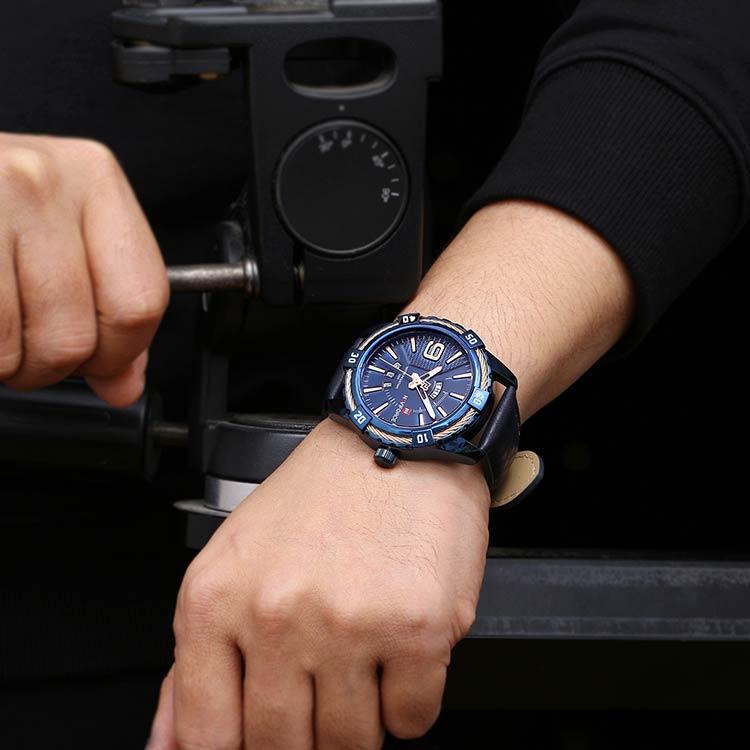 Herrklocka NaviForce Smart Business. Blue/ Blue. Leather Blue. Quartz Japan