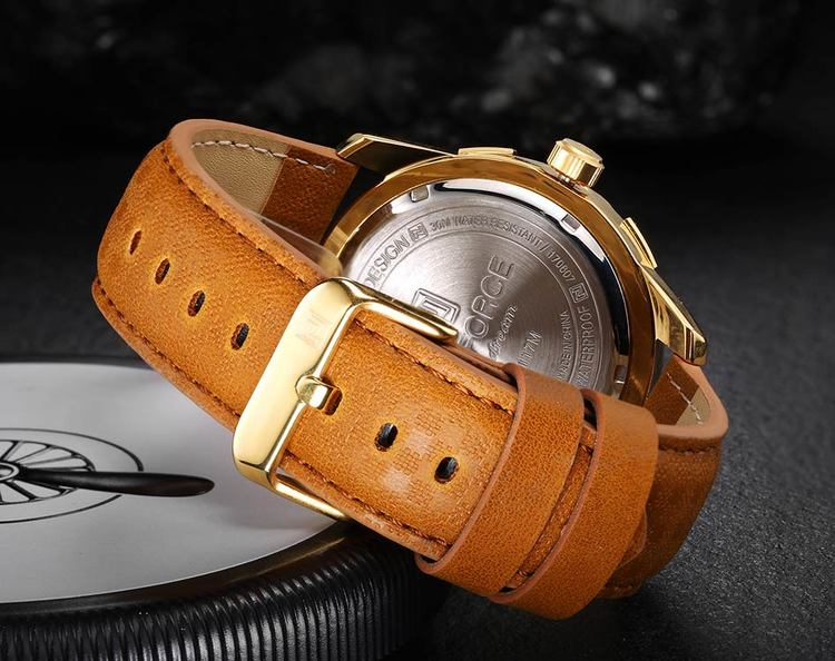 Herrklocka NaviForce Smart Business. Gold / Gold/ Leather Light Brown. Quartz Japan