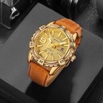 Herrklocka NaviForce Smart Business. Gold / Gold/ Leather Light Brown. Quartz Japan