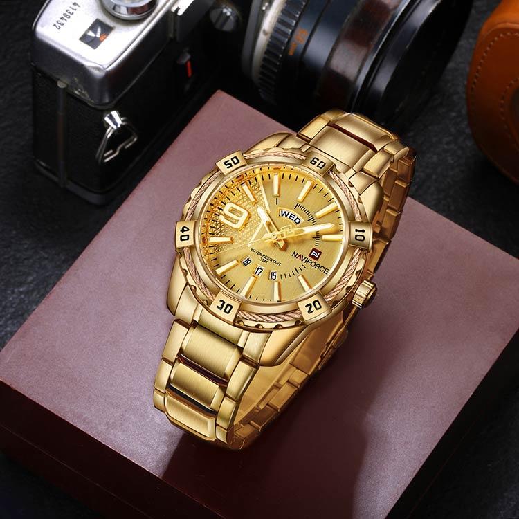 Herrklocka NaviForce Fine Business. Gold / Gold / Gold. Quartz Japan