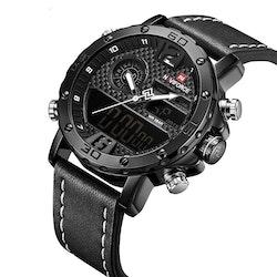 Herrklocka NaviForce Sport Luxury. Black / Black/ Leather Black White pointer. Quartz Japan