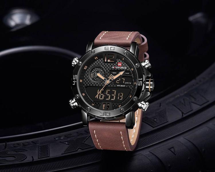 Herrklocka NaviForce Sport Luxury. Black / Black/ Leather Brown. Analog/Digital. Quartz Japan