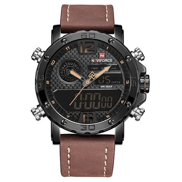 Herrklocka NaviForce Sport Luxury. Black / Black/ Leather Brown. Analog/Digital. Quartz Japan