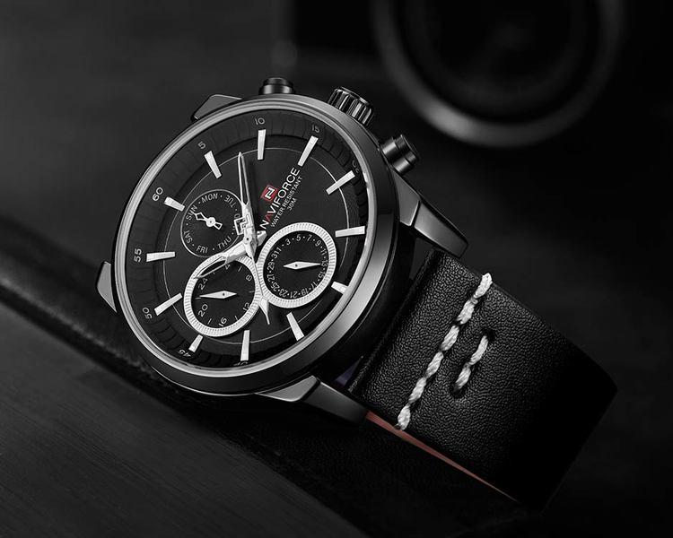 Herrklocka NaviForce Luxury. Black / Black / Leather Black. Quartz Japan