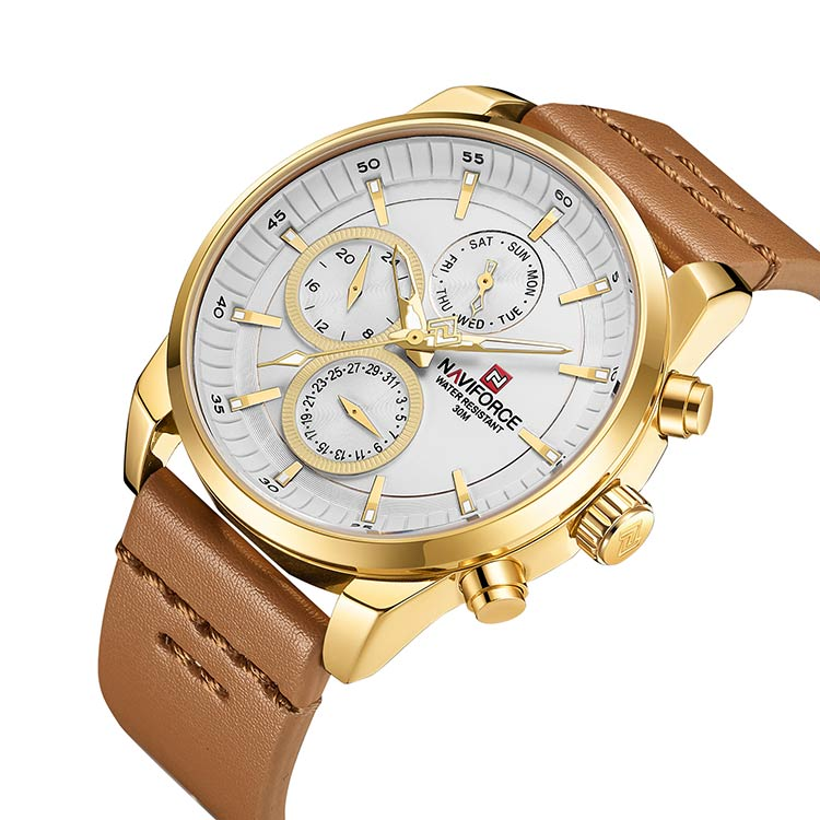 Herrklocka NaviForce Luxury. Gold / White / Leather Light Brown. Quartz Japan