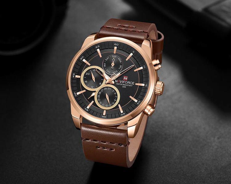 Herrklocka NaviForce Luxury. Rose / Black / Leather Brown. Quartz Japan