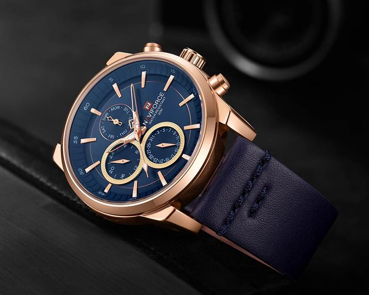 Herrklocka NaviForce Luxury. Rose / Blue/ Leather Blue. Quartz Japan