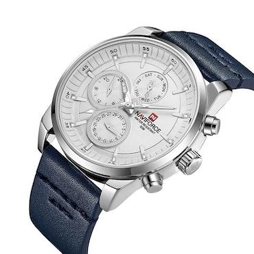 Herrklocka NaviForce Luxury. Steel / Silver / Leather Blue. Quartz Japan