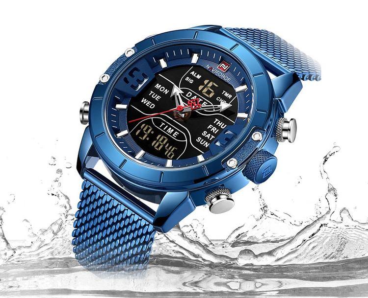 Herrklocka NaviForce Super.Blue / Blue. Mesh Blue. Quartz Japan