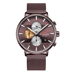 Herrklocka NaviForce Chrono. Brown / Brown. Mesh Brown. Quartz Japan