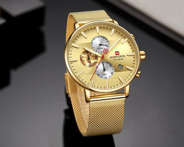 Herrklocka NaviForce Chrono. Gold / Gold. Mesh Gold. Quartz Japan