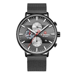Herrklocka NaviForce Chrono.  Black / Black. Mesh Black. Quartz Japan