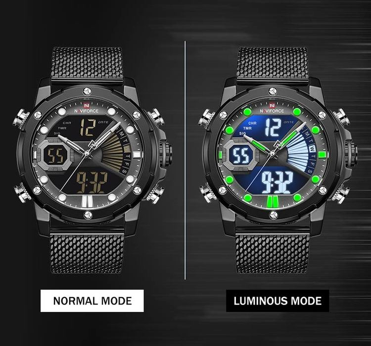 Herrklocka NaviForce Superb. Black / Grey. Mesh Black. Quartz Japan