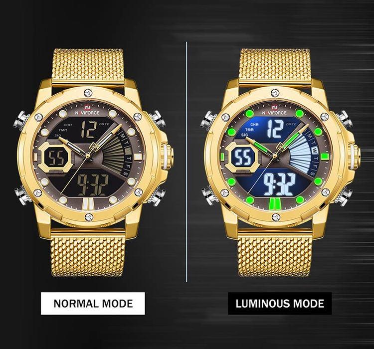 Herrklocka NaviForce Superb.  Gold / Brown. Mesh Gold. Quartz.Japan