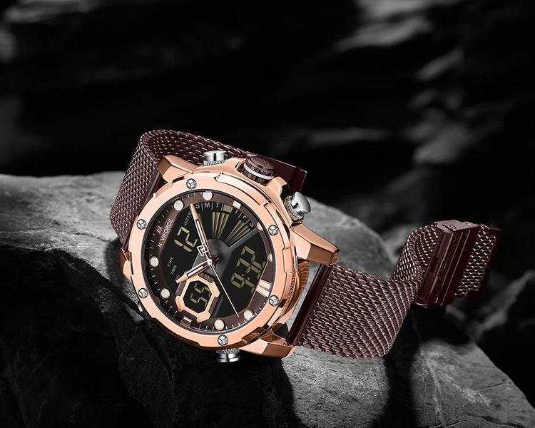 Herrklocka NaviForce Superb. Rose / Brown. Mesh Brown. Quartz Japan