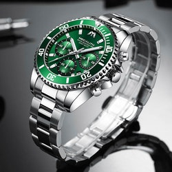 Herrklocka Megalith Chronograph De Lux. Steel / Green. Quartz Japan