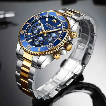 Herrklocka Megalith Chronograph De Lux. Steel/ Gold / Blue. Quartz Japan