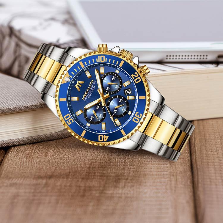 Herrklocka Megalith Chronograph De Lux. Steel/ Gold / Blue. Quartz Japan