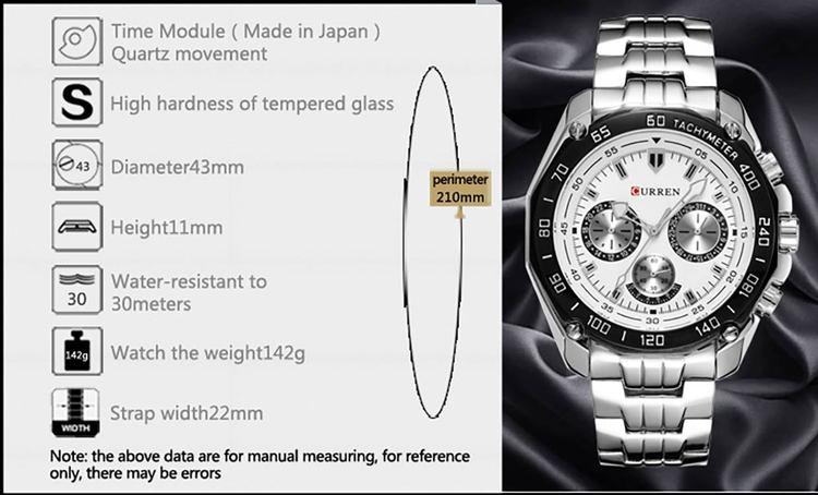 Herrklocka Curre Exact.  Steel / Silver. Steel. Quartz Japan
