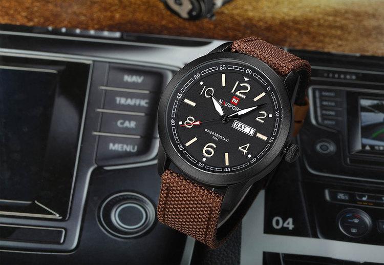 Herrklocka NaviForce Stil. Black / Black / Leather Brown. Quartz Japan