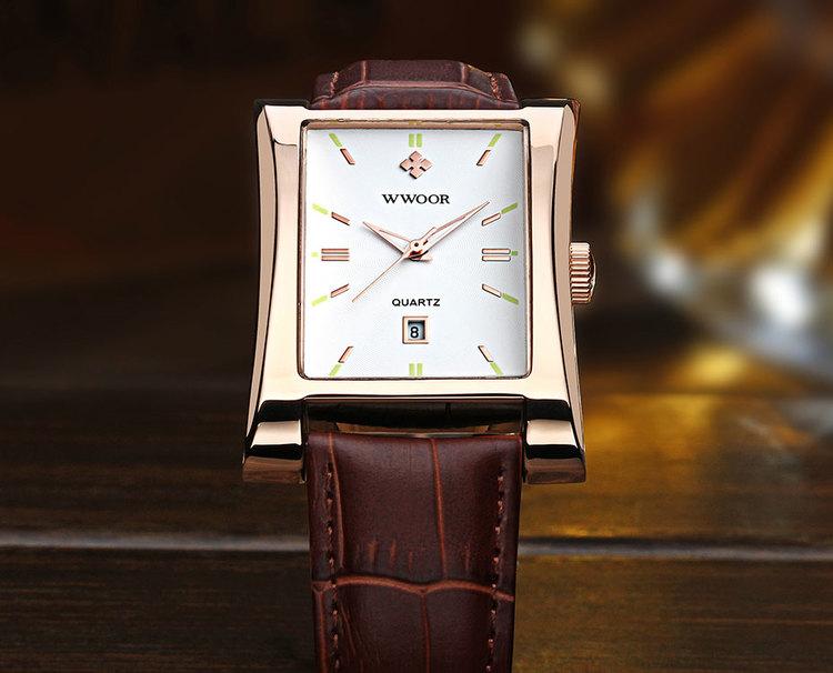 Herrklocka Wwoor Fantastic.  Rose / White. Leather Brown. Quartz Japan