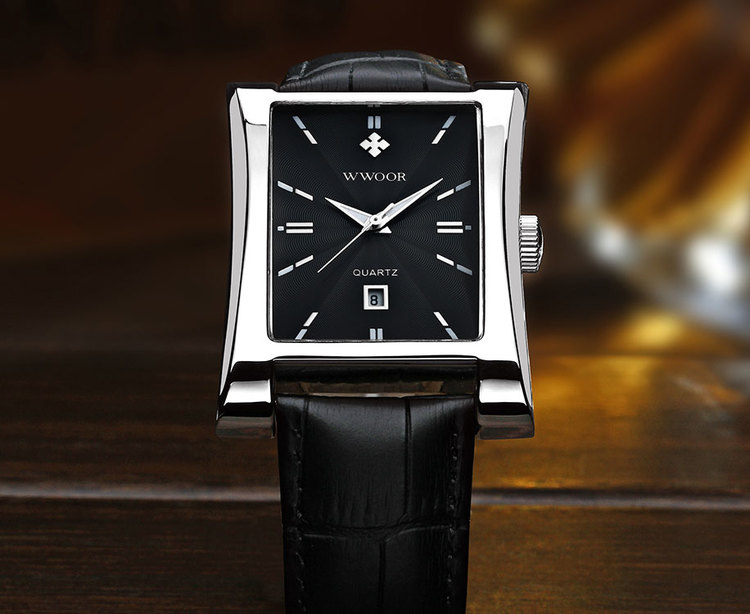 Herrklocka Wwoor Fantastic.  Steel / Black. Leather Black. Quartz Japan