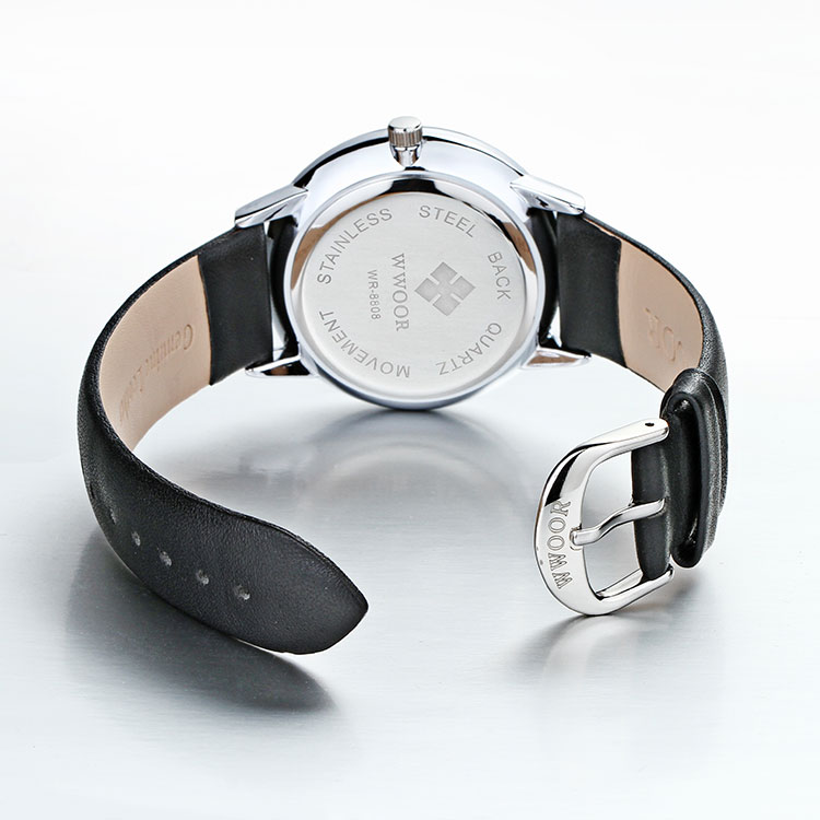 Herrklocka Wwoor Korfu. Black / Black. Leather Black. Quartz Japan