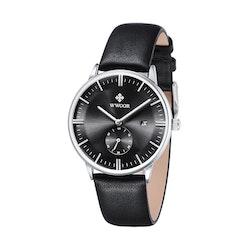 Herrklocka Wwoor Korfu. Black / Black. Leather Black. Quartz Japan