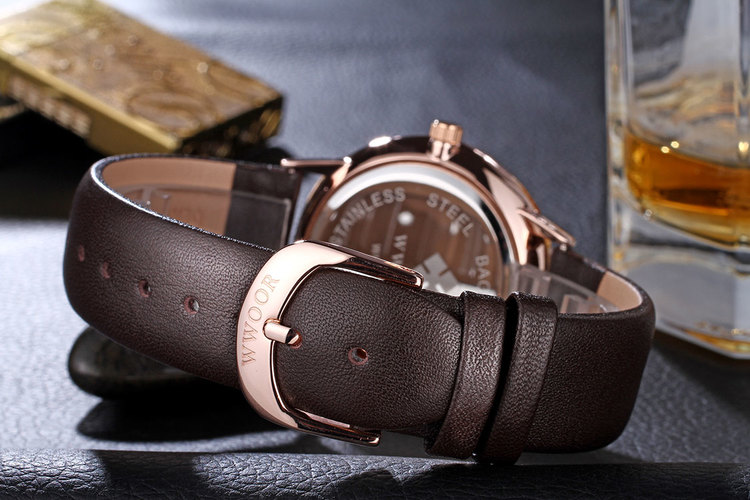 Herrklocka Wwoor Korfu. Rose / Silver. Leather Brown. Quartz Japan