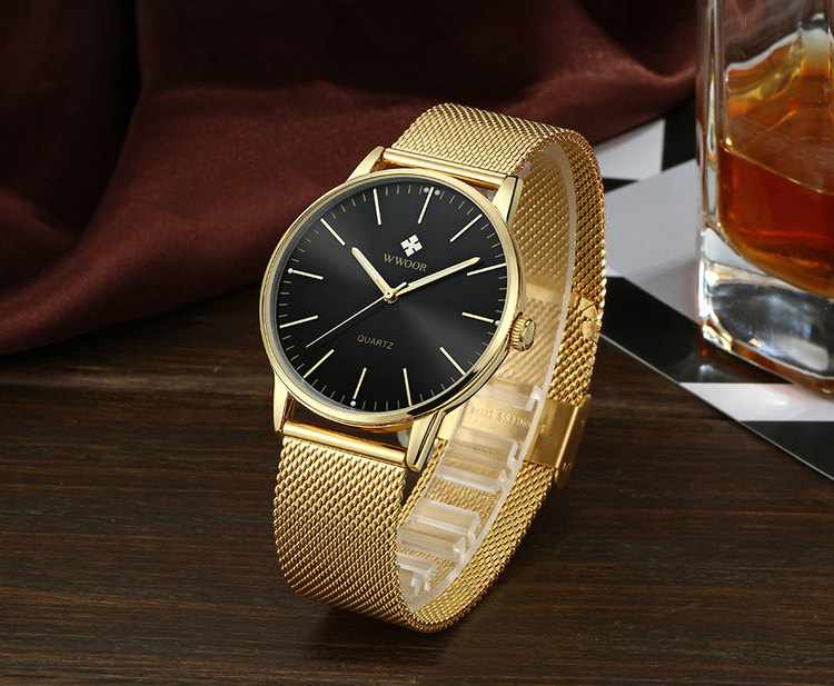 Herrklocka Wwoor Classico. Gold / Black. Mesh Gold. Quartz Japan