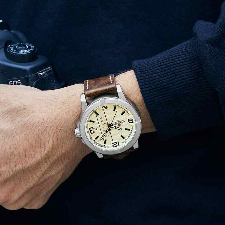 Herrklocka NaviForce Ibiza.  Steel / Beige. Leather Brown. Japan Quartz