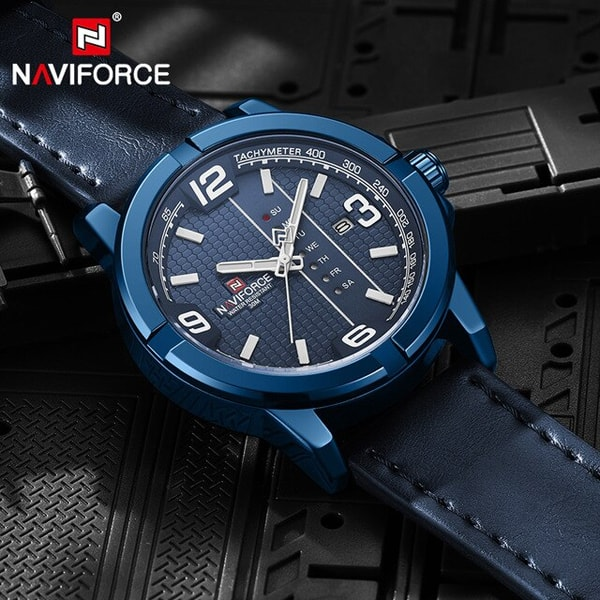 Herrklocka NaviForce Ibiza. Blue / Blue. Leather Blue. Quartz Japan