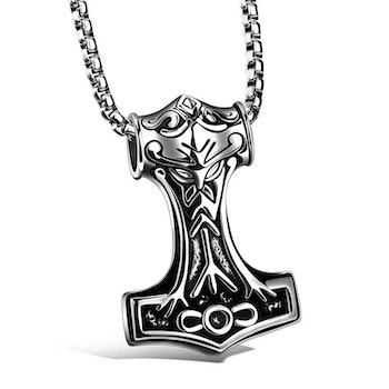Halsband Mjölner Thorshammare silver, Viking 19 länk silver 60 cm