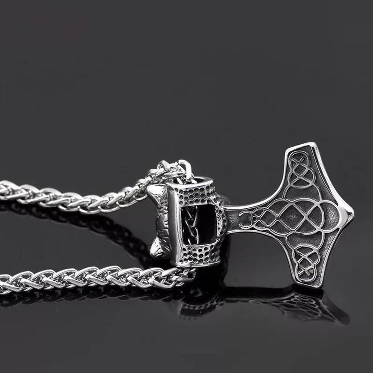 Halsband Thorshammare med ulv. Viking 13 Ankarlänk. 60 cm