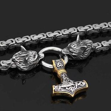 Halsband Viking Wolf-Thorshammare Guld/Silver 5 Kejsarlänk