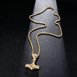 Halsband Thors hammare i Guld/ svart Viking 18B Kulkedja 60 cm