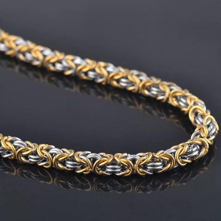 Halsband kungslänk  Guld / Silver 60 cm