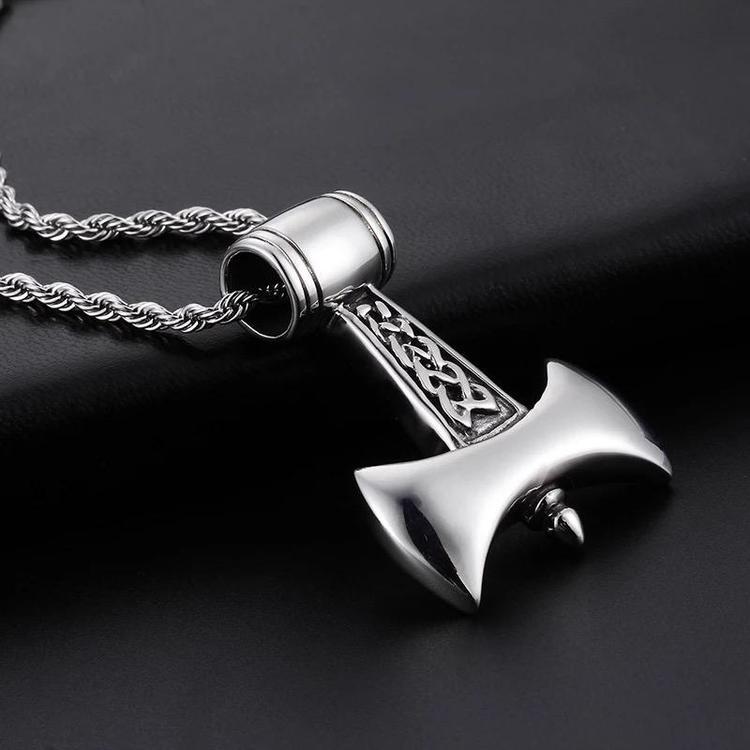 Halsband Viking Axe Tvinnad länk 60 cm