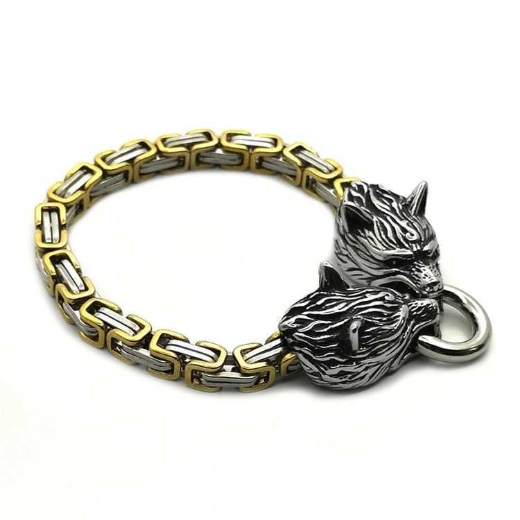 Armband Wolf Guld / Silver kejsarlänk 21 cm