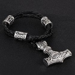 Armband Thors hammare Silver med läderarmband 21 cm