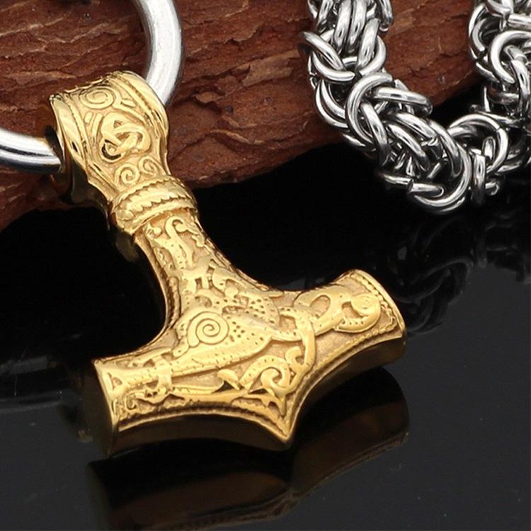 Halsband Viking Thors hammare Guldhammare Special med kungslänk 60 cm