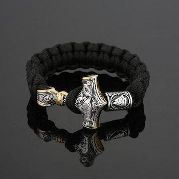 Armband Svart. Thors Hammer Silver / Guldfärg