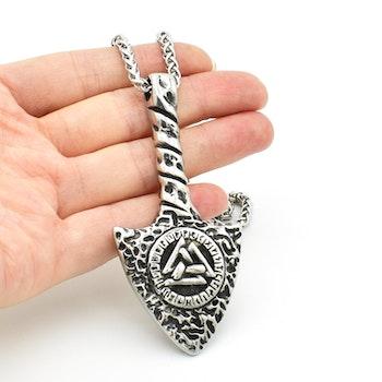 Halsband Viking Arrow-Valknut i Silverfärg 60 cm