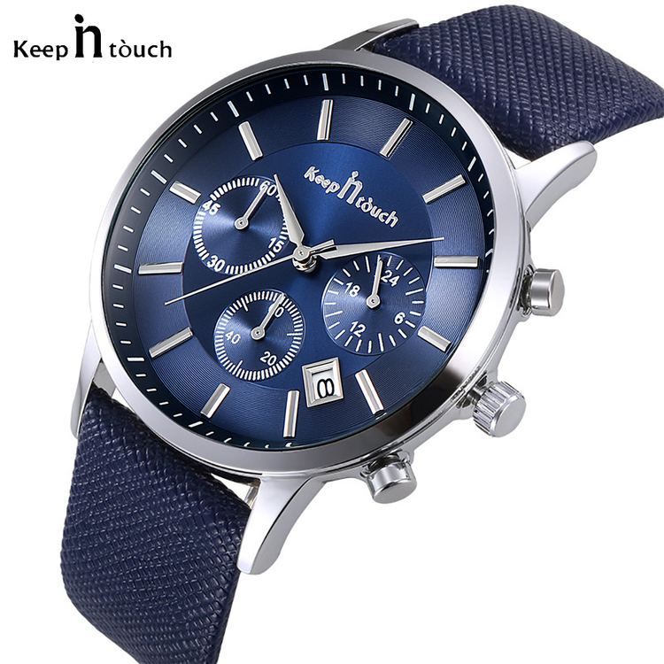 Keep in Touch Disponent. Blue/ Steel. Leather Blue. Japan Quartz