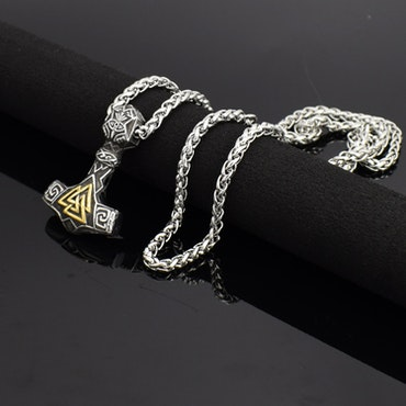 Halsband Bogevik med valknut. Silver / Guldfärgad. 60 cm