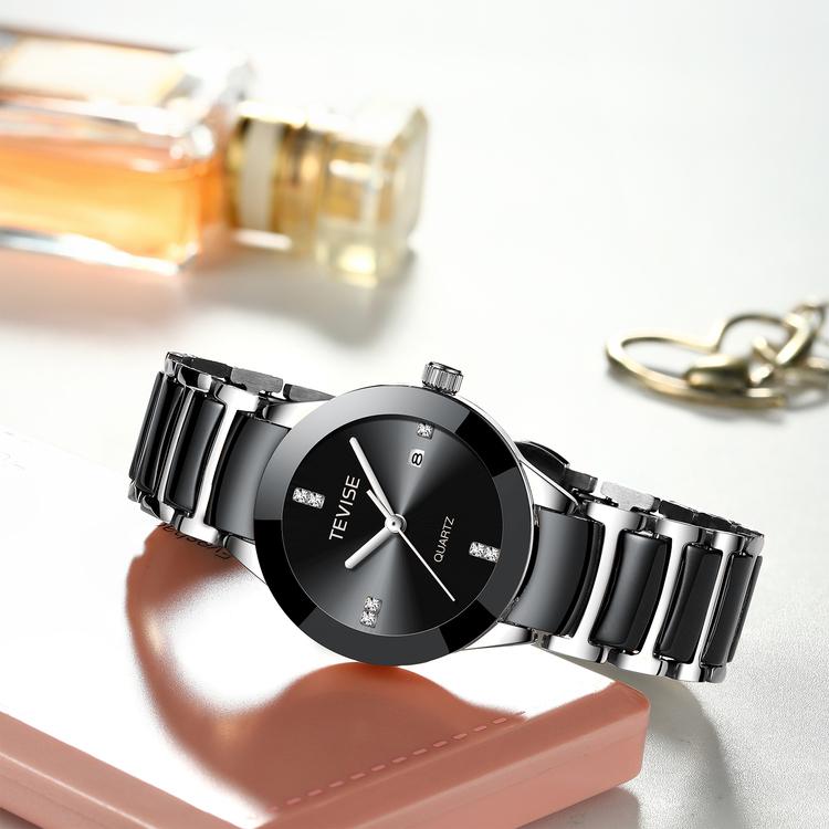 Damklocka Tevise Dimond. Black / Silver. Stainless Steel / Ceramik. Black / Silver. Japan Quartz