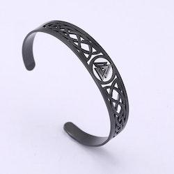 Armband Valknut Svart 165 mm
