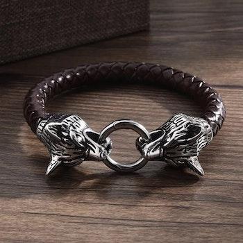 Armband Viking Wolf 3 Läderarmband Brun